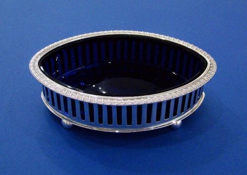 Silver & Bristol Blue Glass Dish