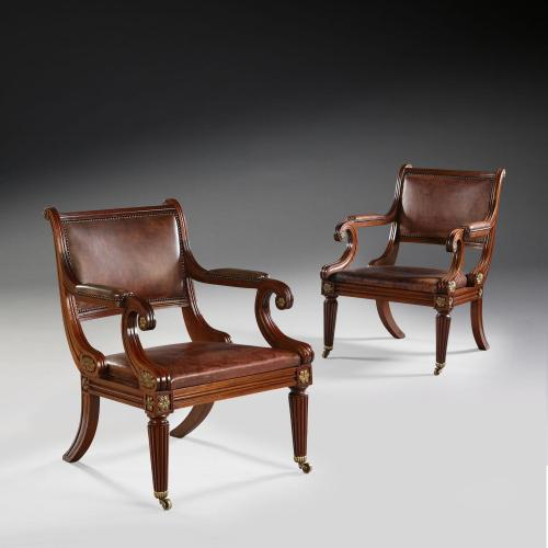 A Pair of Edwardian Mahogany Library Chairs