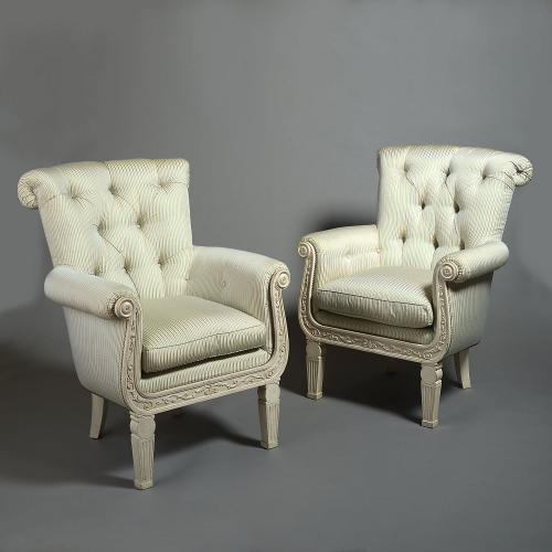 A Pair of Overscale Painted Armchairs