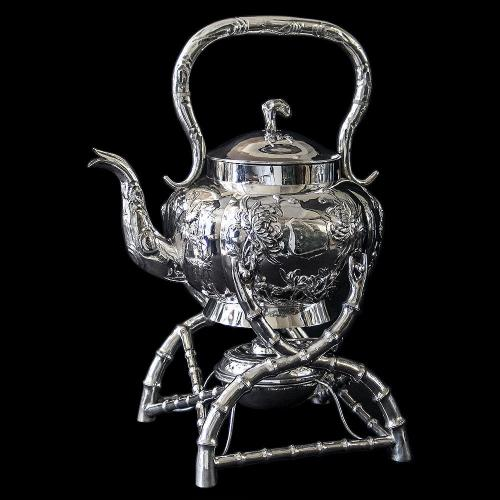 Antique Chinese Export Silver Kettle