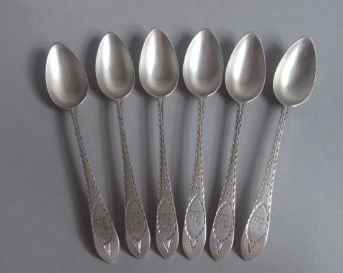 A very fine & rare set of six George III Celic Point Teaspoons made in Cork circa 1800 by Joseph Gibson