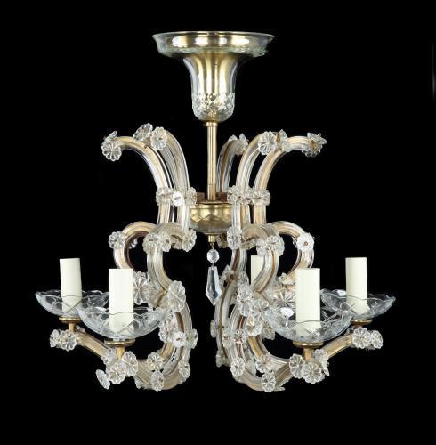 An Antiquarian, electrified, 6-arm gilt brass & glass chandelier