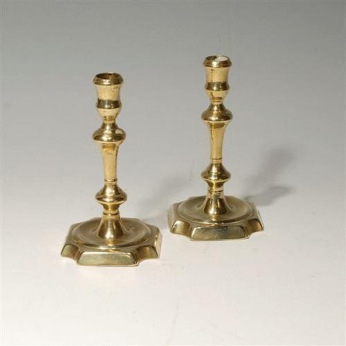 Pair 18th Century Brass Candle Sticks