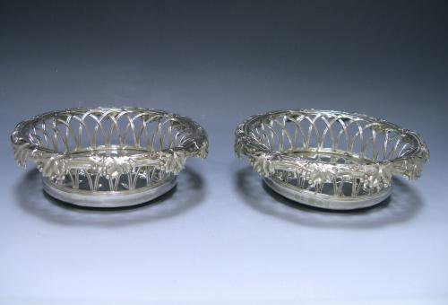 A Pair of Victorian Antique Silver Wine Coasters