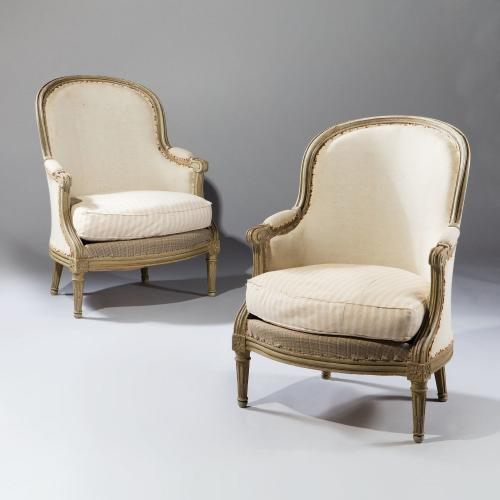 A Fine Pair of 19th Century Painted Bergeres
