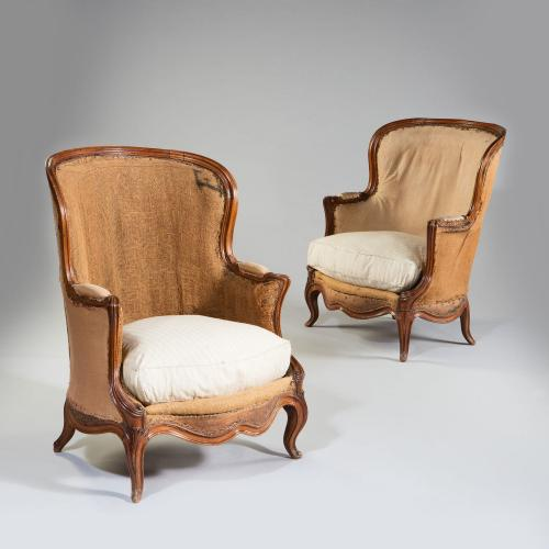 An Overscale Pair of 19th Century Walnut Bergeres