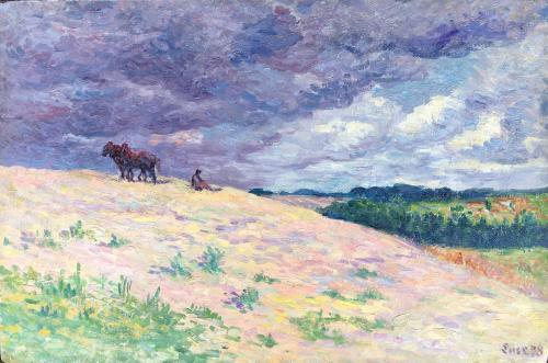 Le repos du Labour, Mereville by Maximilien Luce (1858 – 1941)