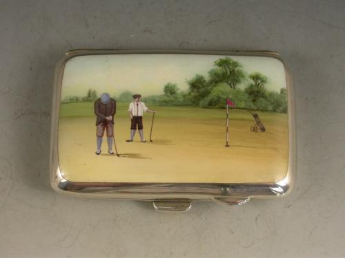 George V Silver & Enamel Golfing Scene Cigarette Case