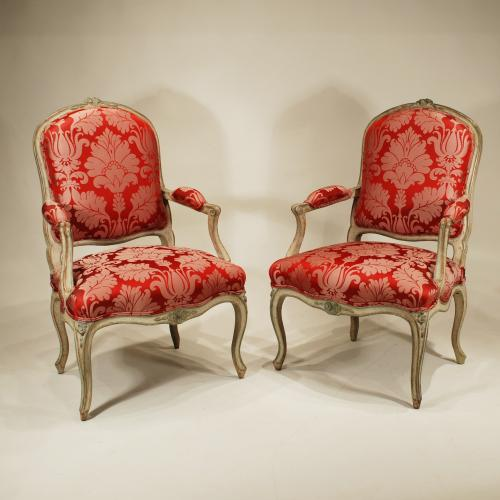 A Pair of Louis XV Period French Fauteuils