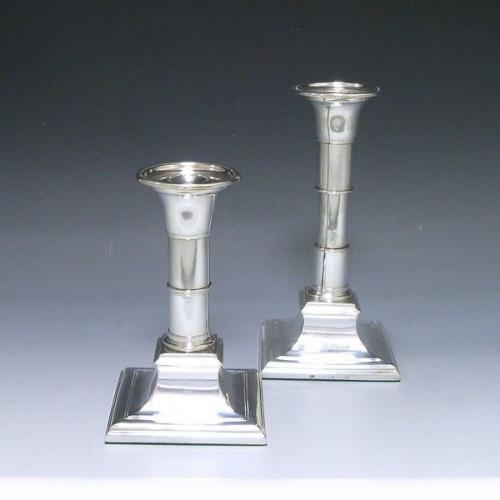 Pair of Antique Silver Telescopic Candlesticks