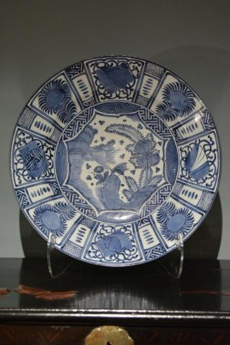 A Japanese blue and white dish in the Kraak style