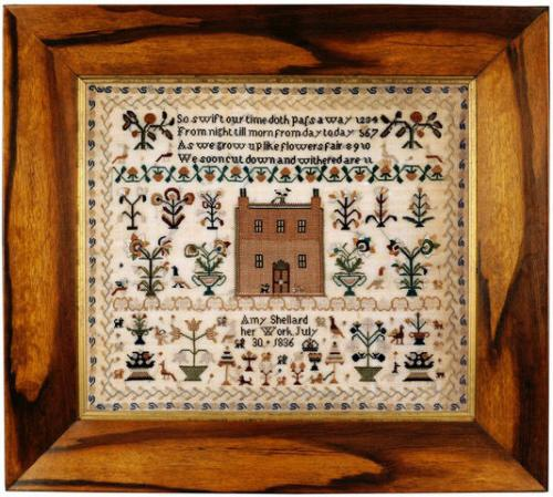 Attractive 19th century 'House sampler' worked by Amy Shellard in 1836