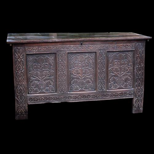 "English carved Oak ""Great Chest"", from East Devon, circa 1650"