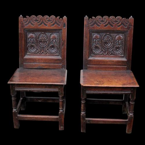 Pair of North Country English Oak Close Boarded Chairs, circa 1680