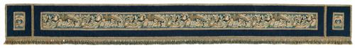 An 18 ft 6 ½ in long, early-20th century, pelmet with 19th century, Brussels, tapestry panels from Cowdray park, supplied circa
