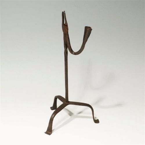 18th Century Wrought Iron Rush Light and Candle Holder