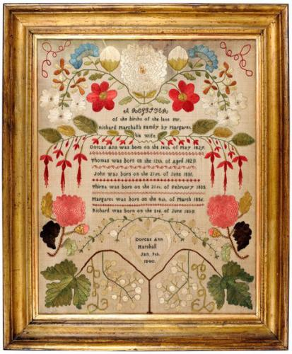 Brightly coloured family register sampler worked by Dorcas Ann Marshall, Jan 9th 1840
