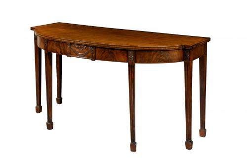 Fine George III Irish Mahogany Bow Front Side Table