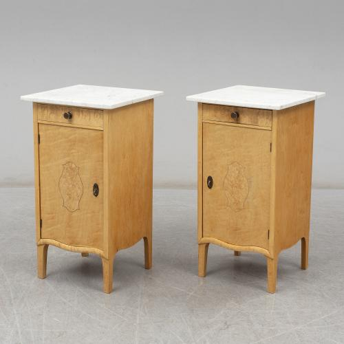 A Pair of Birch Bedside Tables Attributed to Axel Stahls Mobelfabrik