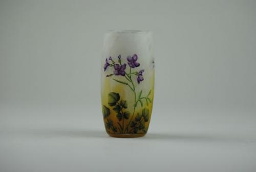Daum cameo glass beaker vase decorated with violets