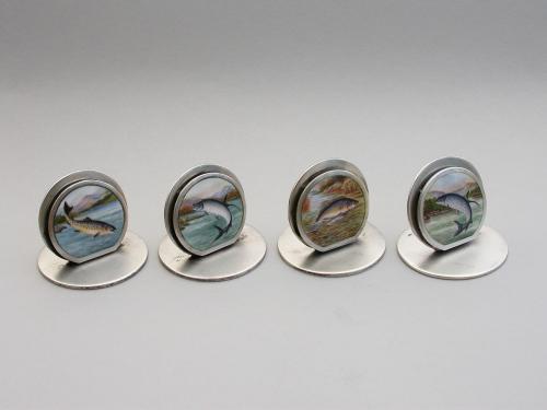 Rare Set 4 Edwardian Silver & Enamel 'Fish' Menu Holders