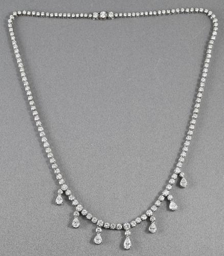 Platinum diamond rivière necklace with fine pear shaped diamond drops Circa 1970
