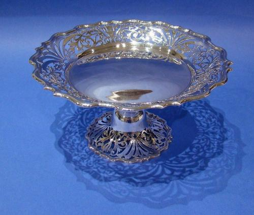 Edwardian Silver Pierced Cake Stand Made by Charles Clement Pilling
