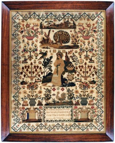 Mid 19th century sampler by Frances Sophia Pymer aged 12 years dated 1843