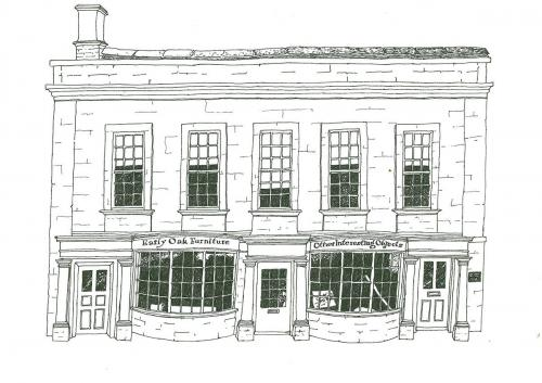 Illustration of Wysdom Hall and Shop