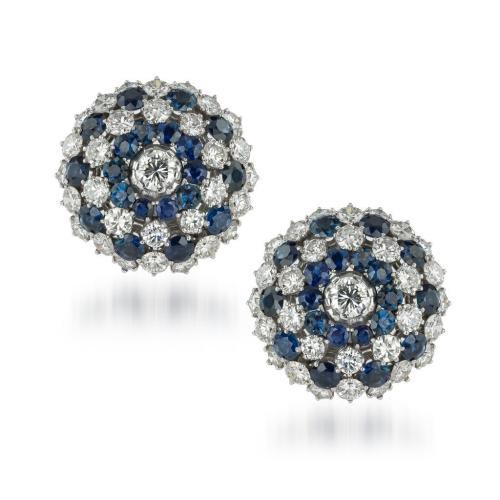 1970's large sapphire and diamond cluster earrings from Anthea A G Antiques
