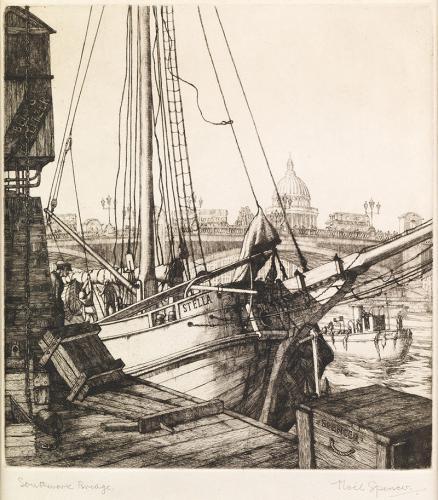 Noel Woodward Spencer ARCA, ARBSA (1900-1986) The Thames at Southwark Bridge towards St Paul's Atelier Ltd