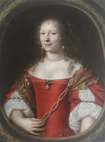 Lady in red with pearls by Pieter Nason