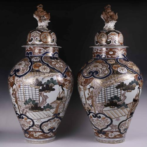 A large pair of Japanese Imari vases circa 1700