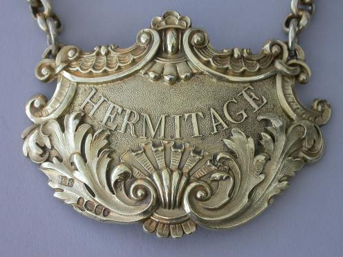 Regency Silver Gilt Wine Label for HERMITAGE by Phillip Rundell