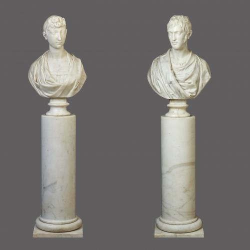 Pair of Italian marble busts of Pauline Bonaparte and General Charles Leclerc