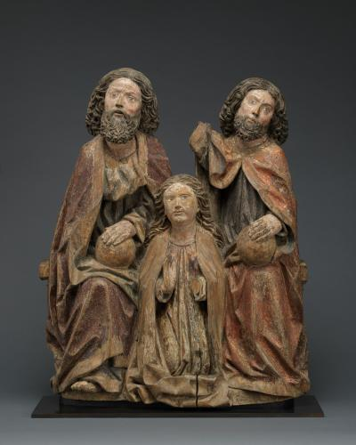 Coronation of the Virgin, limewood, with original polychrome and traces of gilding, Southern Germany, Swabia, c. 1500