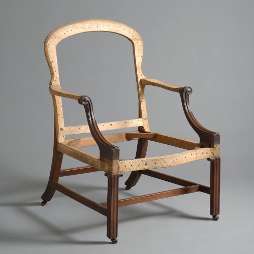A fine George III mahogany library armchair, circa 1760.