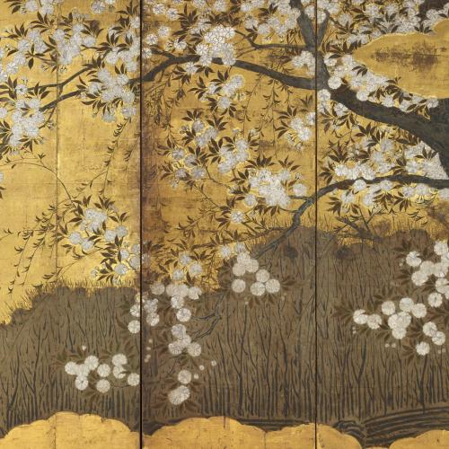 A screen with cherry blossoms, Hasegawa School, Japan 16th/17th century