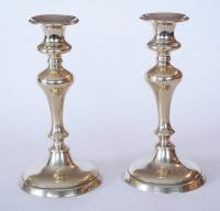 Pair of circular base brass Candlesticks