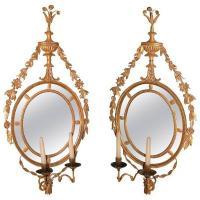 Pair of Oval Giltwood Girandoles/Mirrors