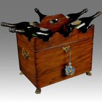Rare George III period Mahogany Box Cellarette and Bottle Stand