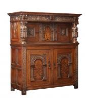 Elizabethan Inlaid Oak Court Cupboard