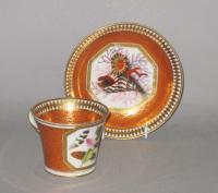 Chamberlains Worcester Cabinet Cup & Saucer. Circa 1810