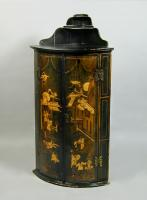 Mid 18th century green lacquer bow front corner cupboard, c.1760
