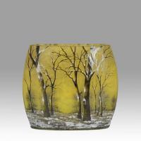 """Art Nouveau Cameo Glass Vase """"Winter Pillow"""" by Daum Frères"""