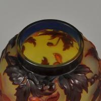 """Art Nouveau French Soufflé Vase """"Clematis"""" by Emile Gallé"""