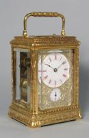 Soldano engraved gorge carriage clock