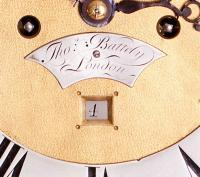 Thomas Battely London Mahognay Longcase Clock name