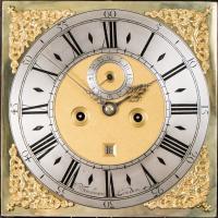 William Tomlinson Ebonised Longcase Clock dial