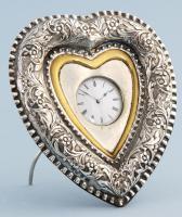 Silver Heart Shaped Desk Clock